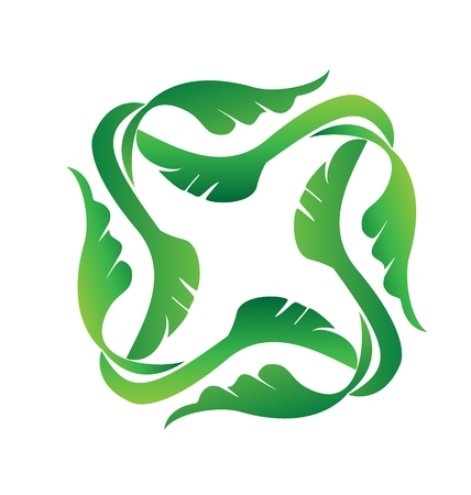 Abstract green leaves isolated icon illustration. Standard-Bild - 96890011