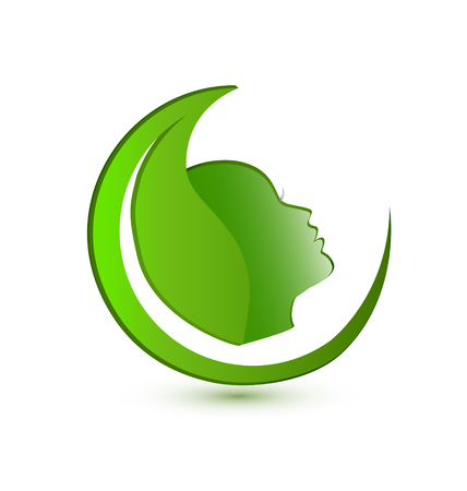 Environmental leaf with woman portrait  logo concept design illustration.