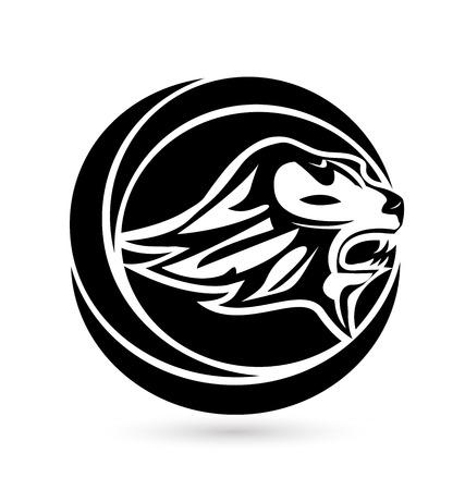 ライオンヘッドロゴコンセプトデザインイラスト。  イラスト・ベクター素材