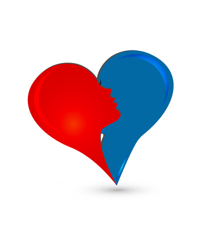 Coppie astratte di relazione che creano un'illustrazione di progettazione di massima di logo del cuore. Archivio Fotografico - 96890511