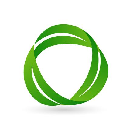 Organic leaves recycle logo concept design illustration.