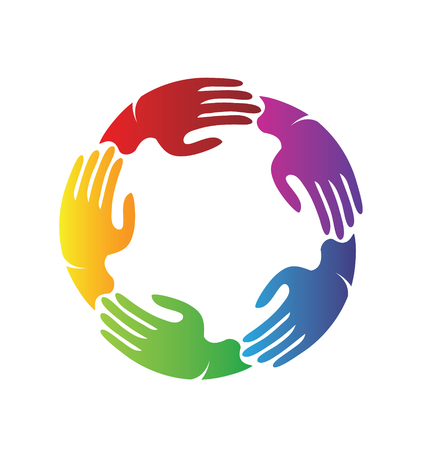 Colorful hands together, teamwork charity vector illustration