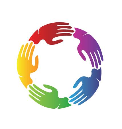 Colorful hands together, teamwork charity vector illustration
