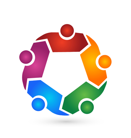 Teamwork people hugging symbol