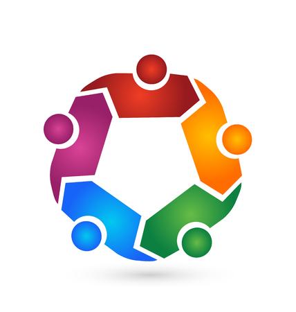 Teamwork people hugging symbol
