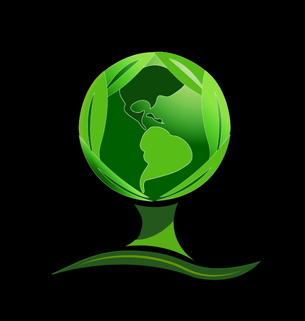 Abstract green tree with earth globe world, symbol Ilustrace
