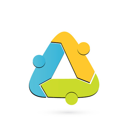 Teamwork people forming recycle triangle vector logo Çizim
