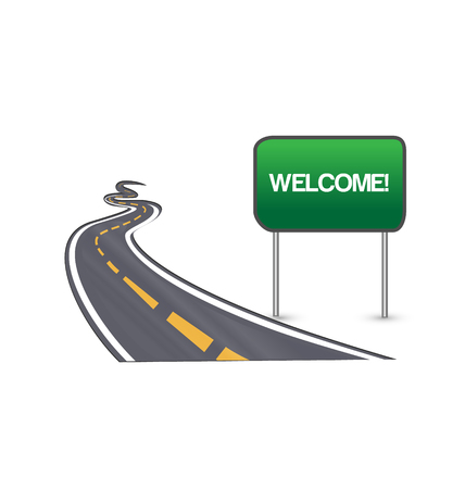Welcome city sign along road vector Illustration