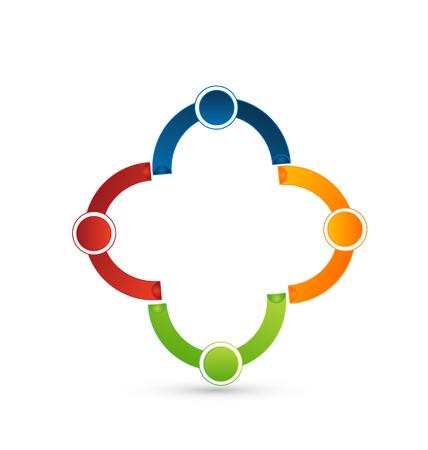 Teamwork people, group of 4, symbol