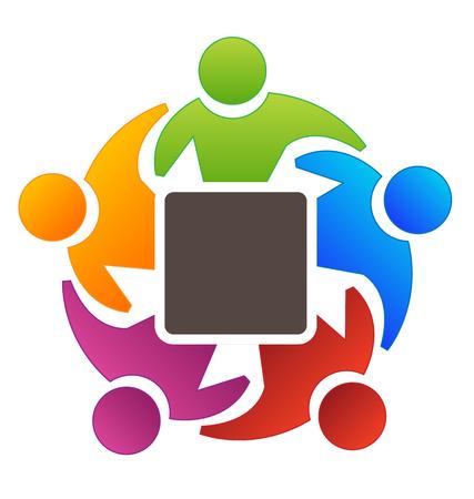 Teamwork people surrounding a blank square symbol Vettoriali