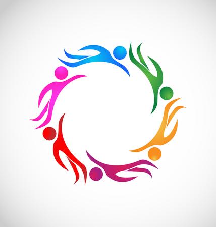 Teamwork swimming group sports icon