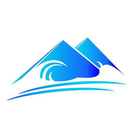 Blue mountain icon, creative illustration design image Illustration