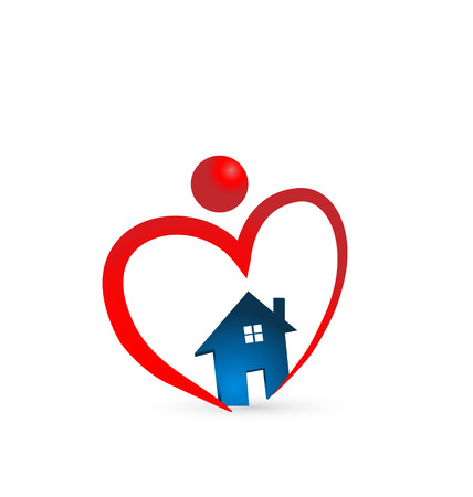 Heart house icon