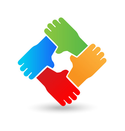 Hands embracing each other image illustration