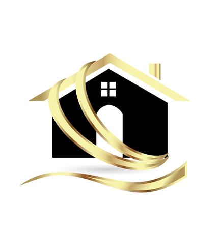 Golden modern house, real estate, icon Illustration