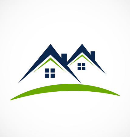 Houses with beam rooftops, real estate icon Stock Illustratie