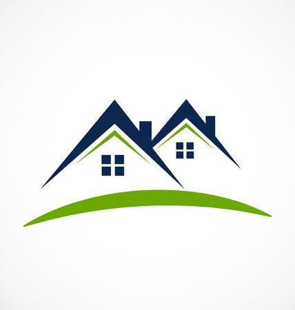 Maisons avec toits en poutre, icône de l'immobilier Banque d'images - 97058779