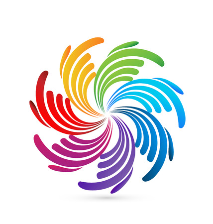 Group of 7 abstract colorful hands icon
