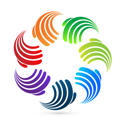Teamwork abstract hands icon