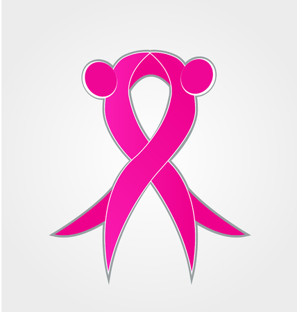 Breast cancer awareness, pink ribbon abstract icon