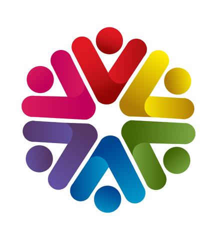 Victory teamwork people icon logo Иллюстрация