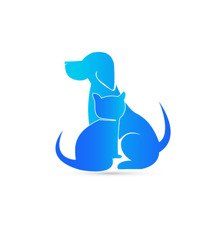 Blue cat and dog pet clinic icon