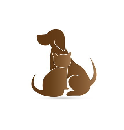 Brown cat and dog pet clinic icon