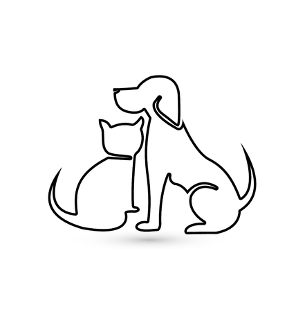 Cat and dog pet clinic icon silhouette
