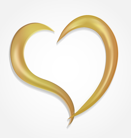 Gold heart swirly outline icon