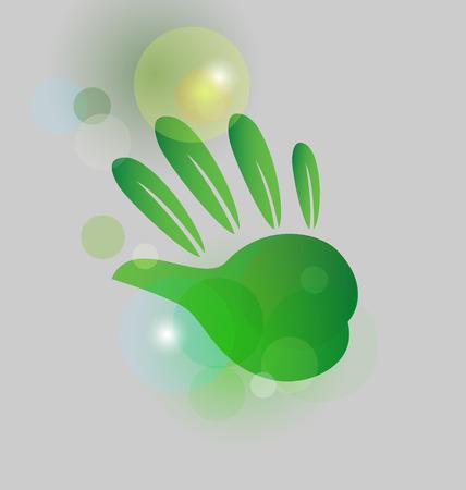 Green environmental hand icon