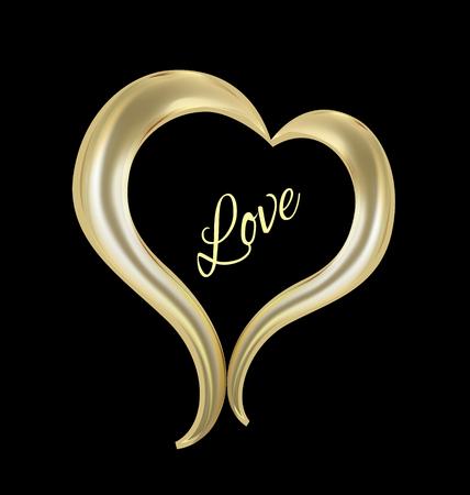 Love gold heart icon