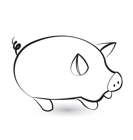 Pig, pork black silhouette stylized icon