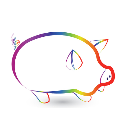 Rainbow pig silhouette outline icon