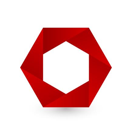 Red hexagon shape logo icon