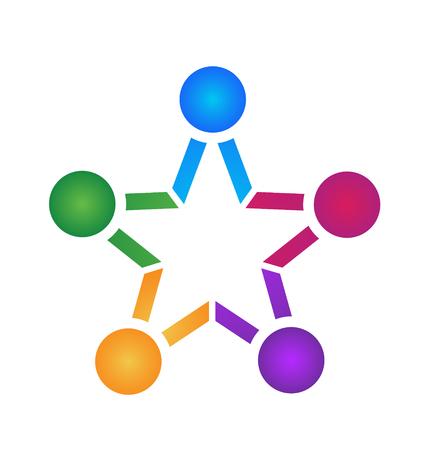 Teamwork people star shape icon 일러스트
