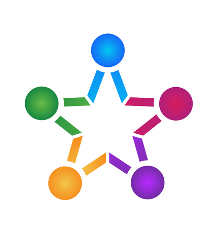 Teamwork people star shape icon Illustration