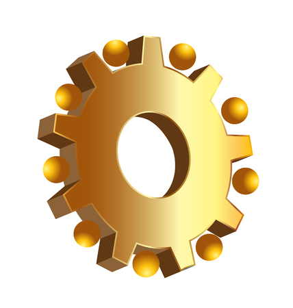 Gold gear setting icon Illustration