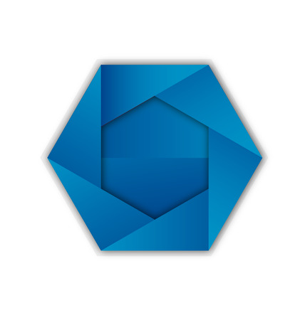 Blue hexagon abstract shape icon