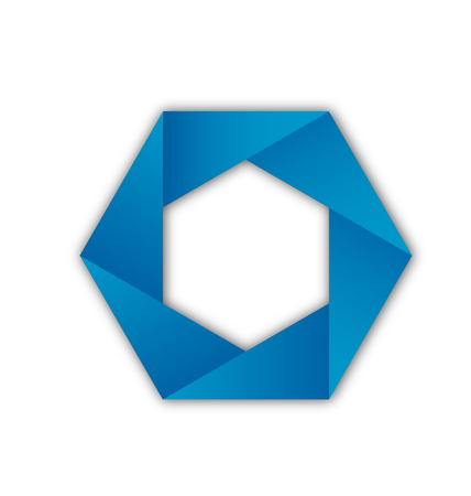 Blue hexagon wheel abstract shape icon Illustration