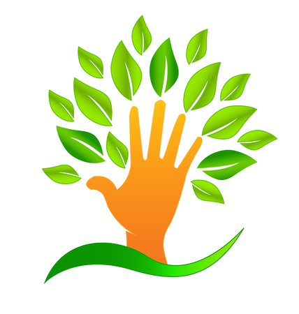 Abstract tree hand icon, creating environmental change