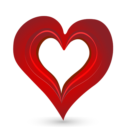 Red compassion shape heart icon