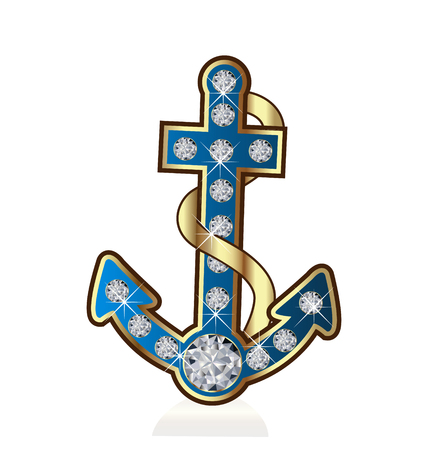 Anchor with diamonds vector icon Vettoriali