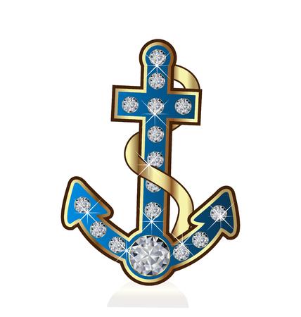 Anchor with diamonds vector icon Stock Illustratie