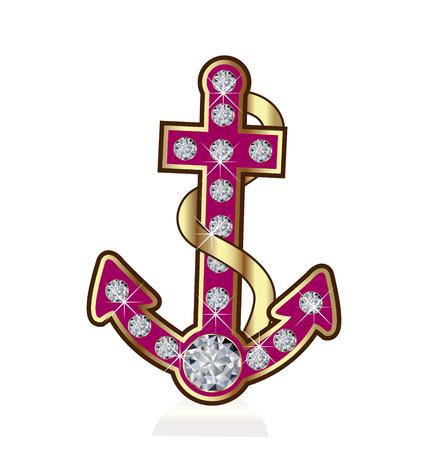 Anchor with diamond gems vector icon