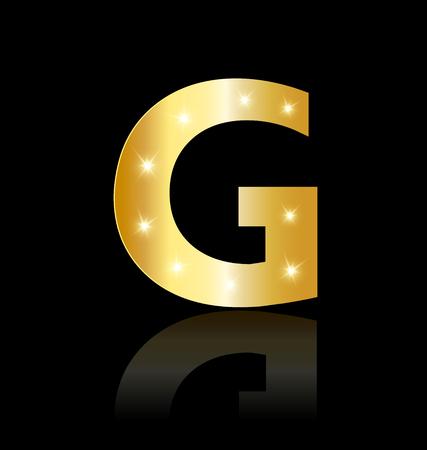 Golden letter G with sparkle icon Illustration