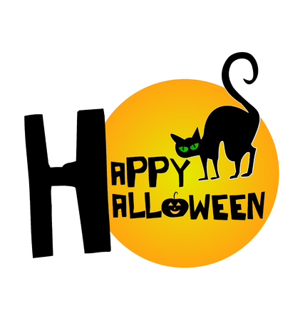 Happy Halloween with black cat background