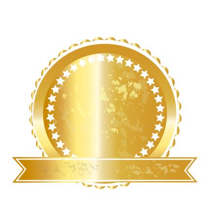 Gold label seal illustration Illustration