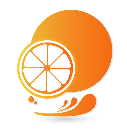 Orange fruit splash illustration vector icon