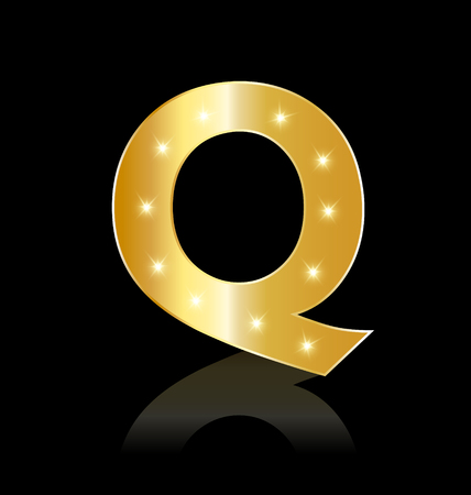 Golden letter Q with sparkle icon