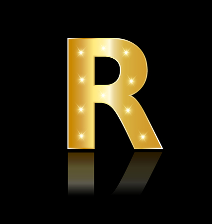 Golden letter R with sparkle icon